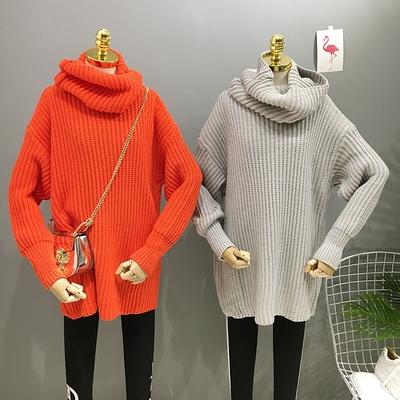 韩国2017冬季新款时尚百搭宽松高领毛衣女打底毛衣套头毛衣女潮