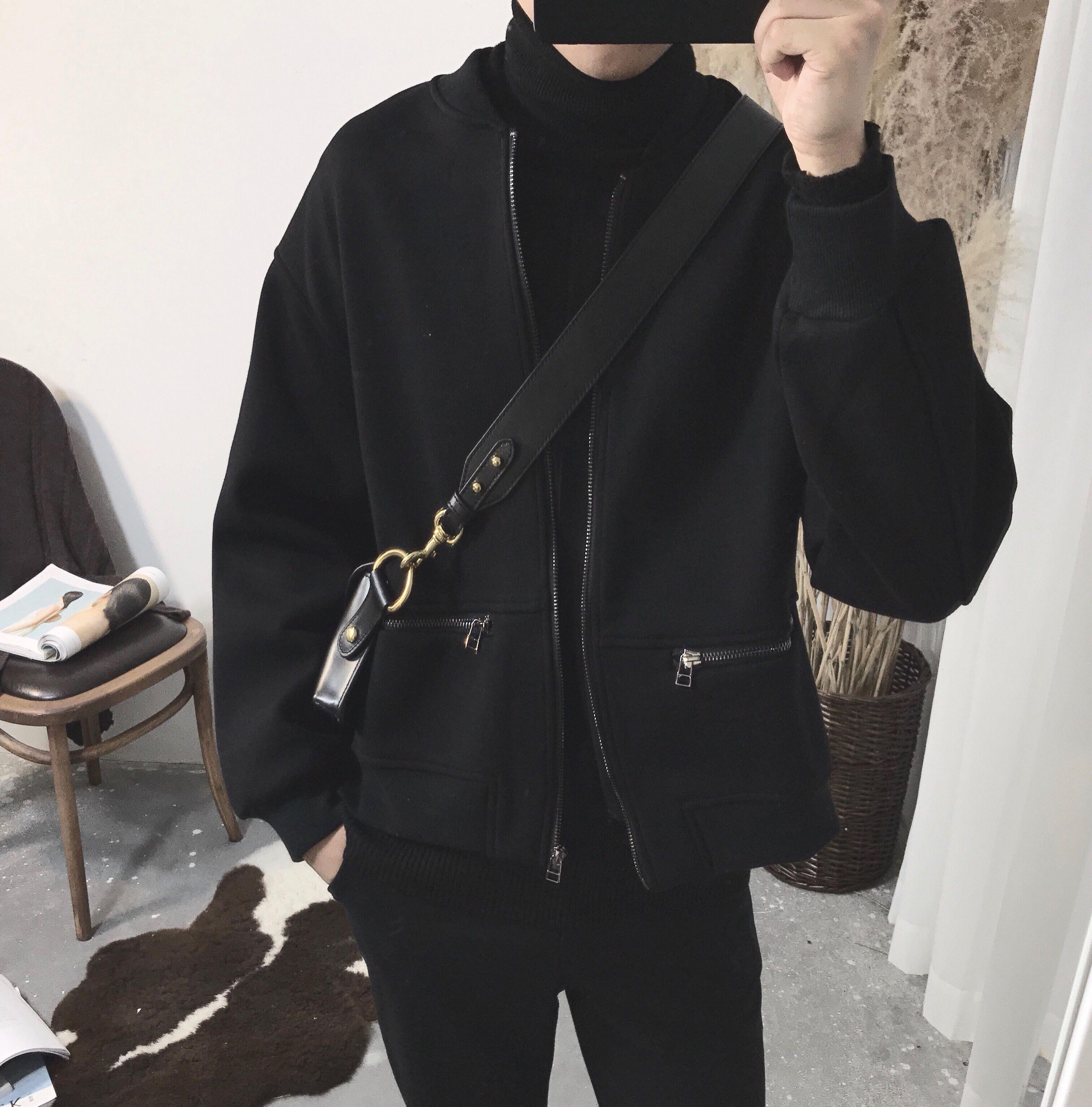 阿茶与阿古黑色廓形短款黑色棒球服夹克