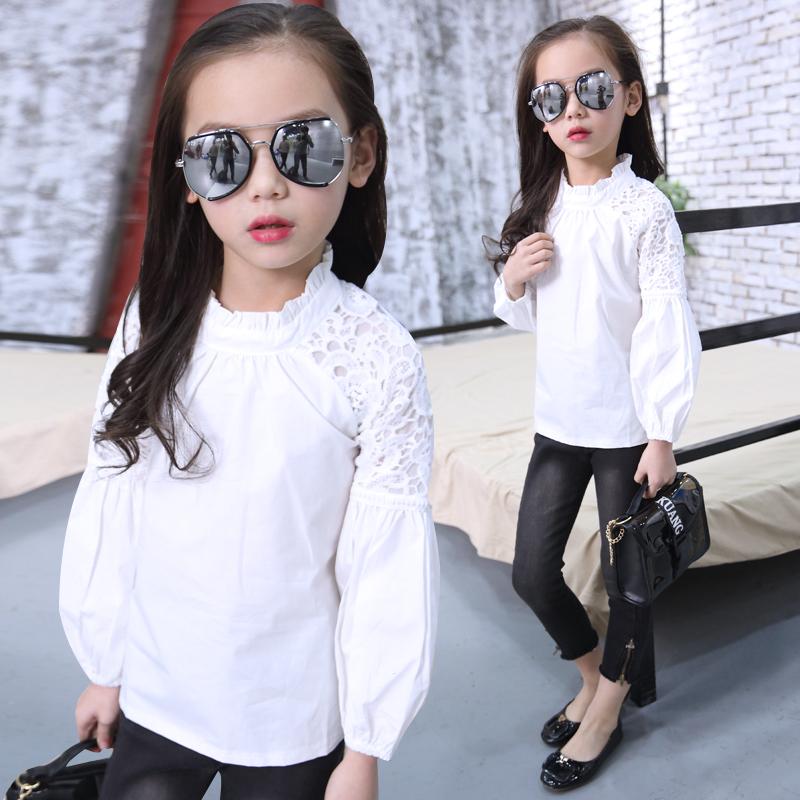 女童衬衫长袖 中大童春季新款纯棉泡泡袖上衣儿童韩版白色衬衣潮