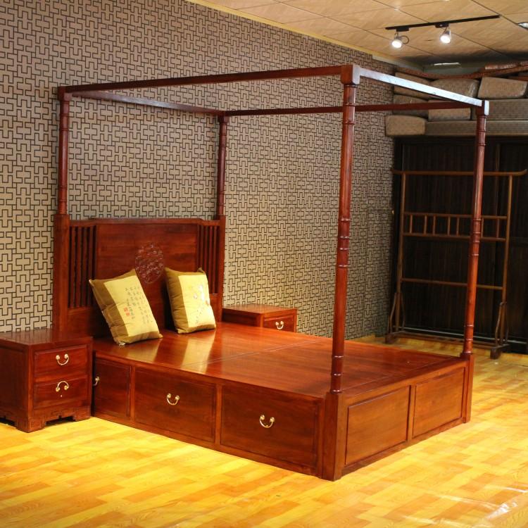 qay家居 新中式风格架子床全实木四柱床东南亚维幔床四柱子实木床图片