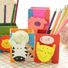 三年二班●韩国文具 可爱卡通动物收纳盒 时尚创意多功能木质笔筒