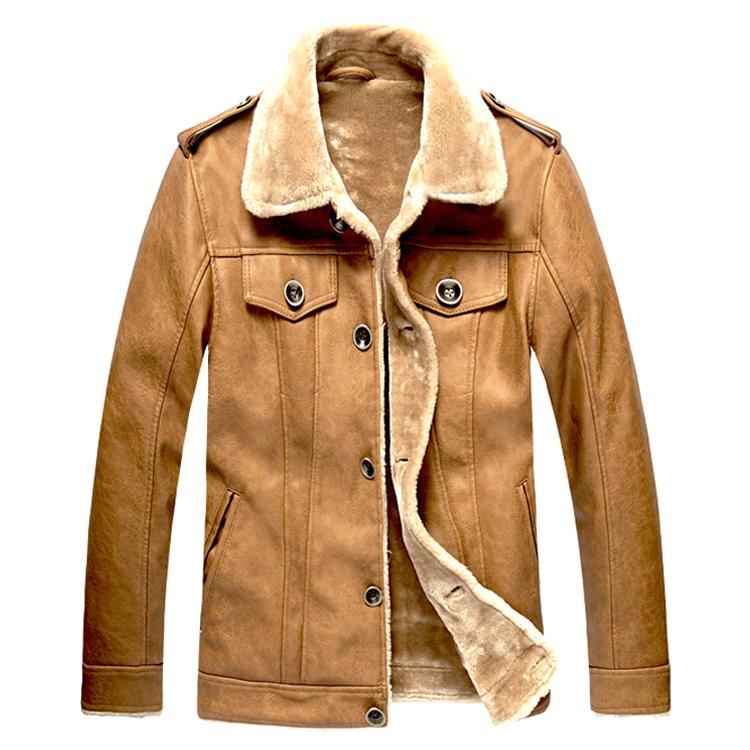 海宁皮毛一体男装皮夹克 高仿牛皮真皮皮衣 加绒加厚毛领皮草外套