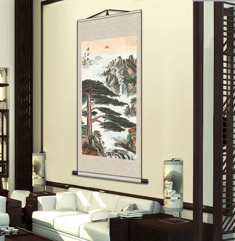 精品国画山水客厅装饰画风水丝绸卷轴挂画字画已裱卷轴画批发高档