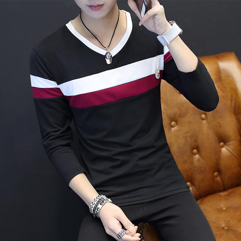 冬季长袖t恤男士韩版修身型青少年秋衣白色打底衫圆领体恤潮男装