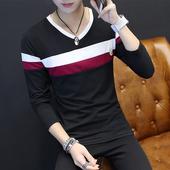 圆领体恤潮男装 型青少年秋衣白色打底衫 t恤男士 修身 韩版 冬季长袖
