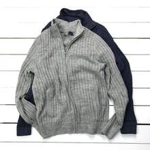 男式秋冬毛衣开衫外套简约水洗毛衣罗纹立领全棉毛线衣大码男装