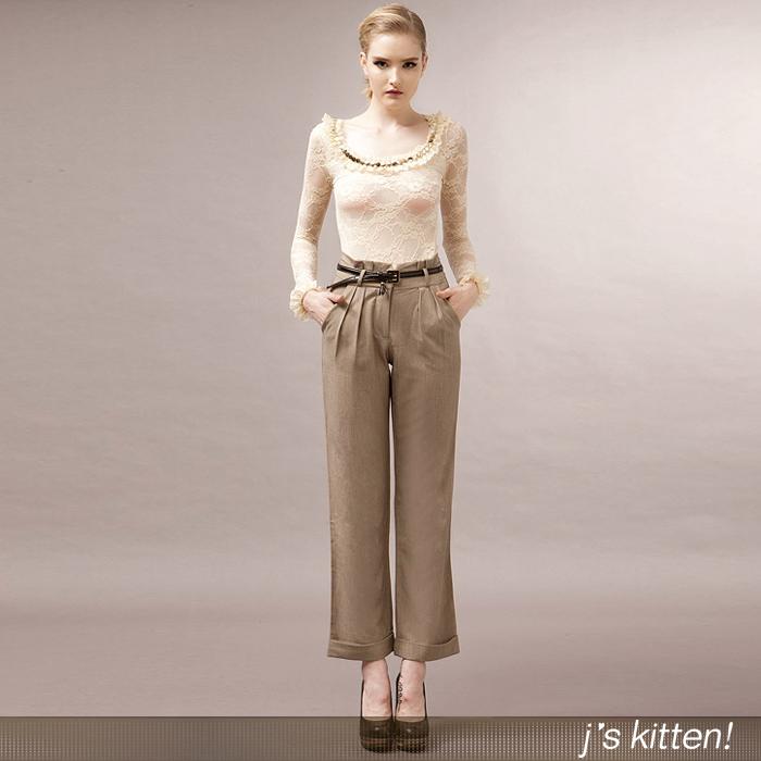 [乔安小猫]j's kitten!气场OL韩版修身显瘦职业装直筒西装长裤