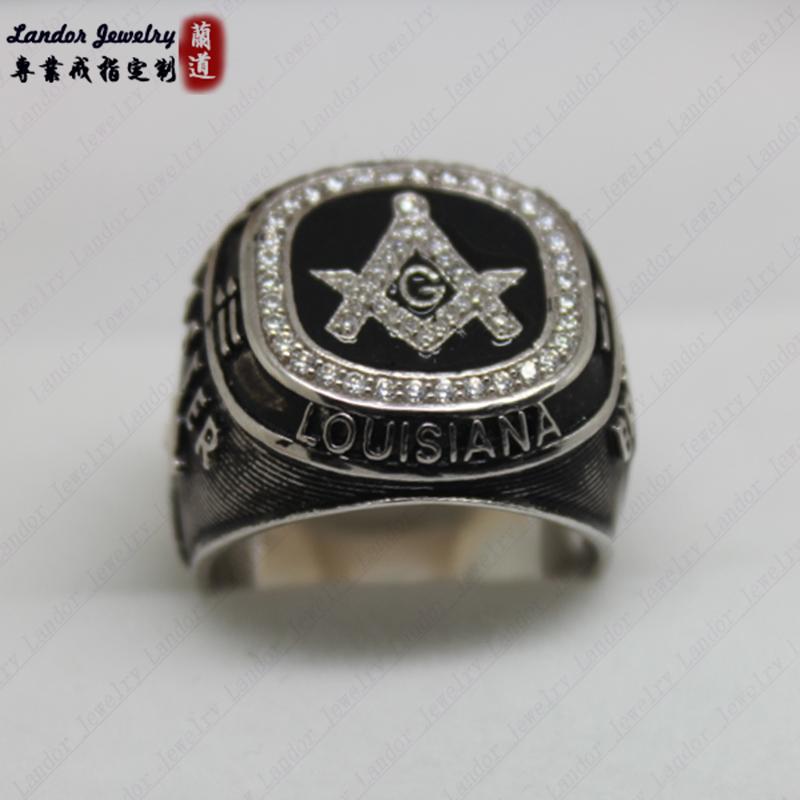 共济会戒指定制 925纯银戒指 流行饰品 镀金戒指 免费刻字