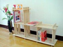 宜家4格架简易实木书架置物架 创意3层花架鞋架收纳架储物架子
