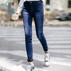 茵曼2017冬新款加厚加绒保暖显瘦弹力牛仔裤女裤靴裤
