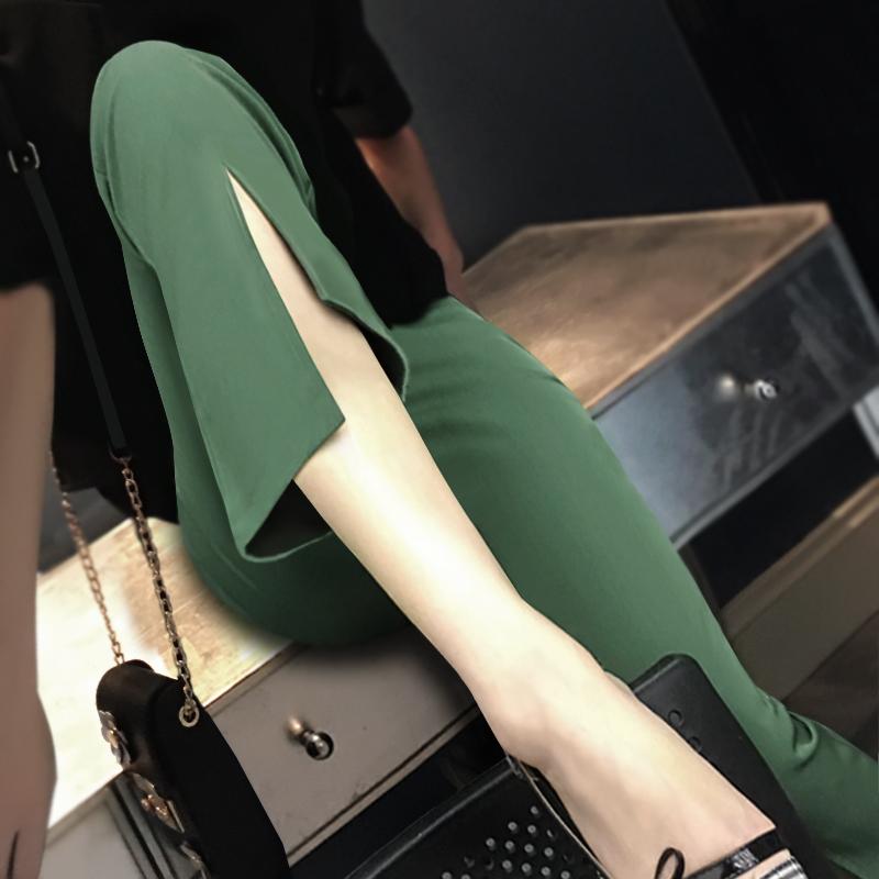 雪纺阔腿裤女夏高腰女九分裤黑色夏季开叉裤子喇叭裤西裤