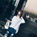 西西小可2016秋装韩版竖条纹衬衫七分袖女宽松蝙蝠袖镂空勾花上衣