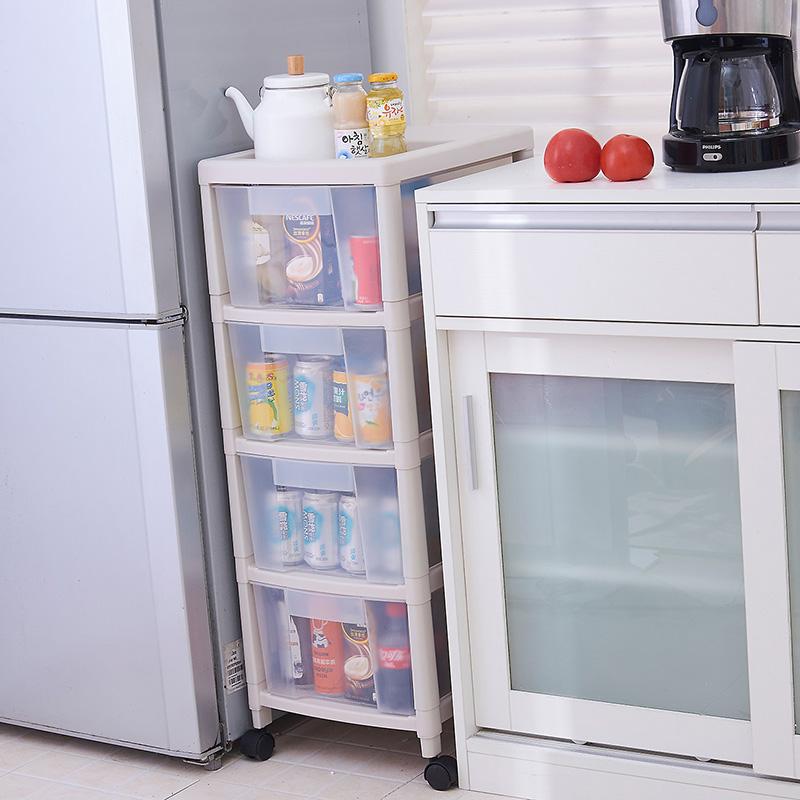 塑料落地移动蔬菜夹缝置物架抽屉收纳多层冰箱厨房