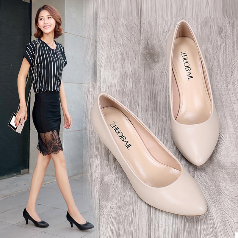 白色皮鞋工作尖头真皮工装女鞋职业中跟单鞋黑色