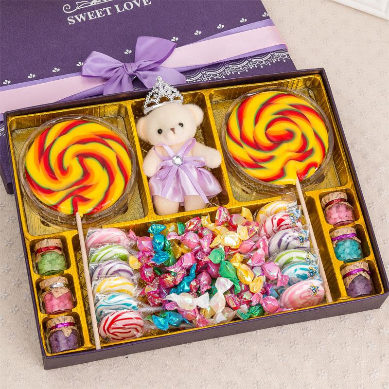 礼包超大礼盒生日儿童节糖果装波板糖女生零食创意礼物星空棒棒糖