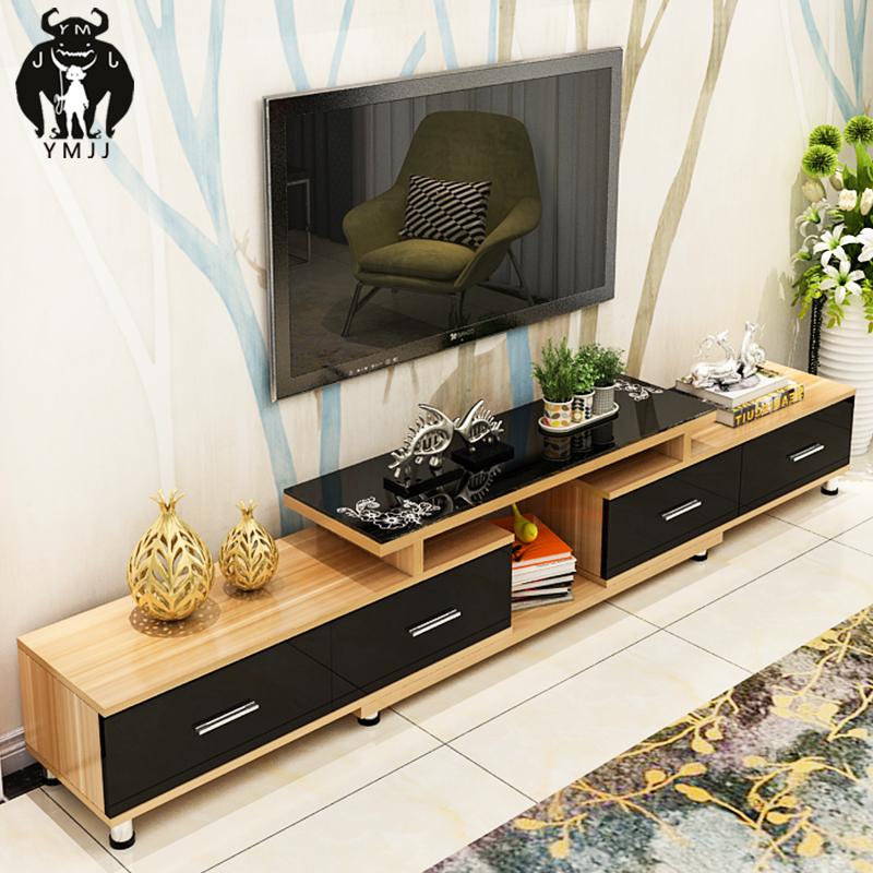 包邮钢化玻璃伸缩电视柜茶几组合简约现代欧式小户型
