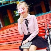 2017秋装新款衬衫女粉韩版甜美蝴蝶结系带长袖学生小清新上衣白色