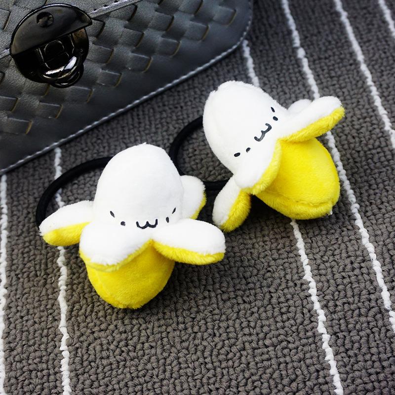 日系软妹韩国卡通发饰品可爱剥皮扒皮香蕉君毛绒公仔发圈头绳可爱