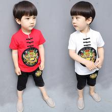 套装 潮中国风汉服5周岁 3岁男宝宝4短袖 儿童唐装 男童夏季套装
