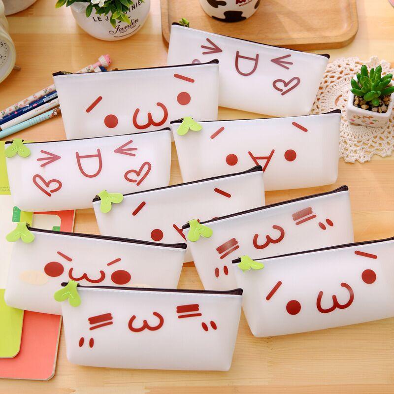 韩国硅胶透明笔袋可爱萌表情颜文字君铅笔盒卡通女