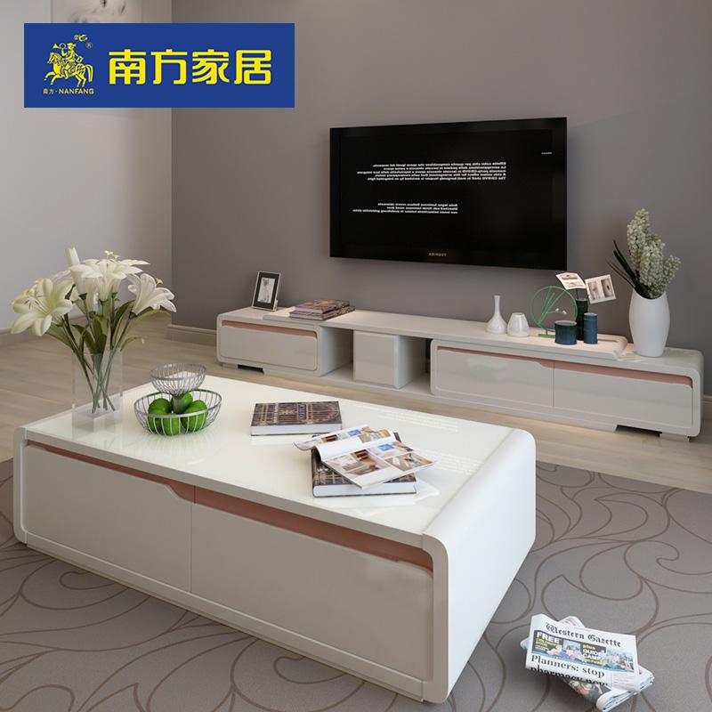 简约现代电视柜茶几组合伸缩小户型客厅成套家具套装 南方家私
