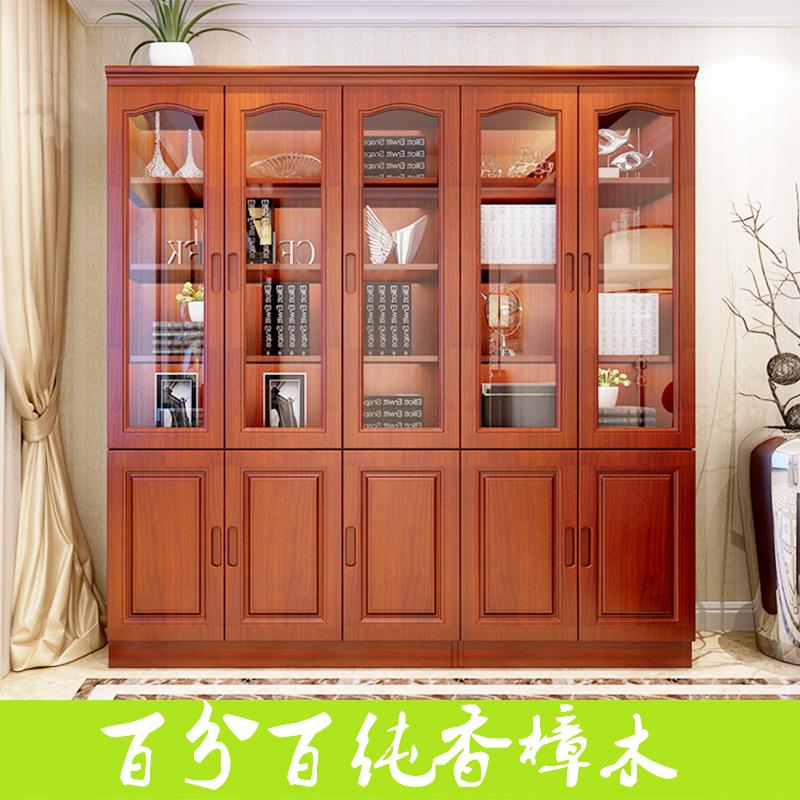 实木书柜组合三门二门全香樟木书柜带门书橱书架原木