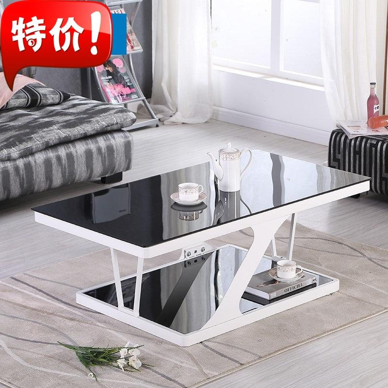 欧式钢化玻璃方形 简易客厅办公小铁艺茶几电视柜