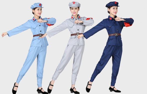 军装表演服长征红军服装经典舞台剧红色娘子军舞蹈服装男女款直销
