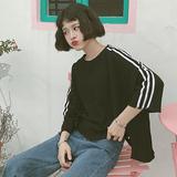 夏季韩国ulzzang原宿风bf宽松拼色短袖T恤女韩版学生中袖上衣潮