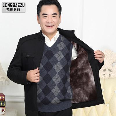 加绒加厚爸爸秋冬装外套中年男士夹克中老年人40父亲50岁爷爷冬装