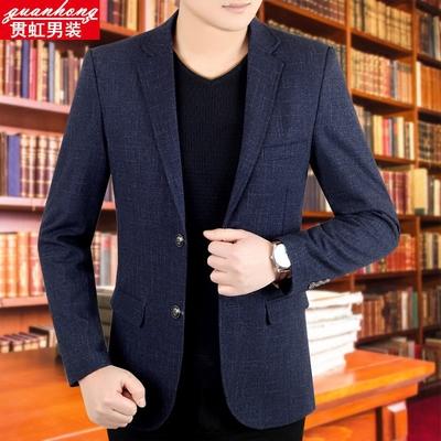 秋冬新款中年男士西装商务休闲西服韩版修身小西装男便西上衣外套