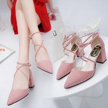 2017韩版新款尖头粉色高跟鞋中跟粗跟绑带百搭学生罗马凉鞋女夏季
