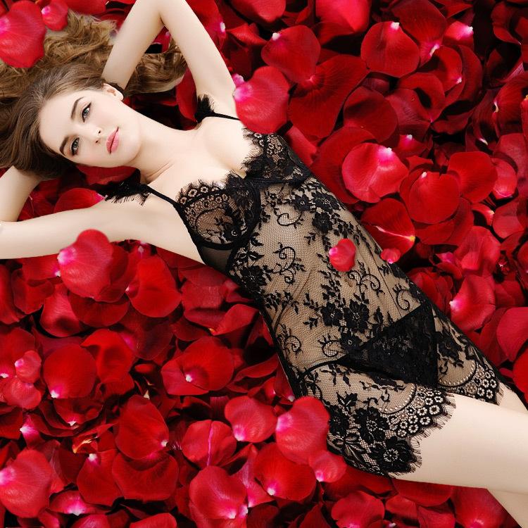 性感情趣内衣套装 诱惑女骚透明蕾丝睡衣透视成人制服钢托聚拢