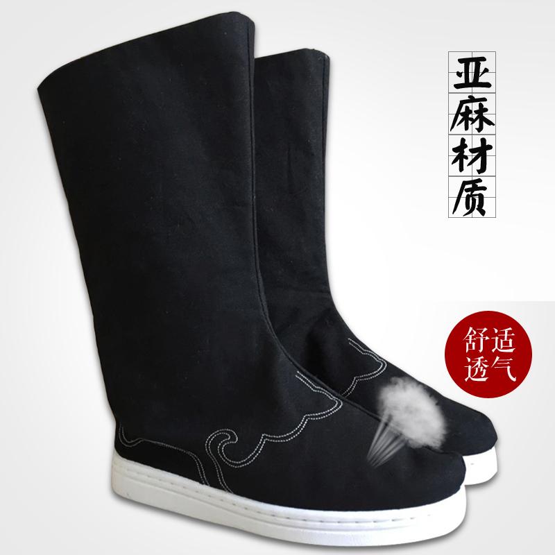 新款亚麻材质黑色男女士古装汉服搭配绣花亚麻长筒靴子翘首履鞋子
