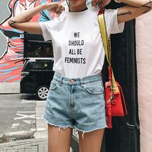 小景家2017春装新款字母印花圆领t恤女纯色百搭短袖打底上衣特价