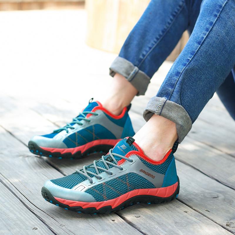 耐磨防滑爬山夏網面登山鞋透氣徒步女鞋戶外運動旅游鞋越野