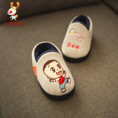 1-3岁冬季宝宝棉拖鞋包跟防滑2男童儿童室内婴幼儿小童女亲子拖鞋
