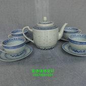 原光明瓷厂青花玲珑9头三合壶茶器 一套 景德镇文革厂货瓷器