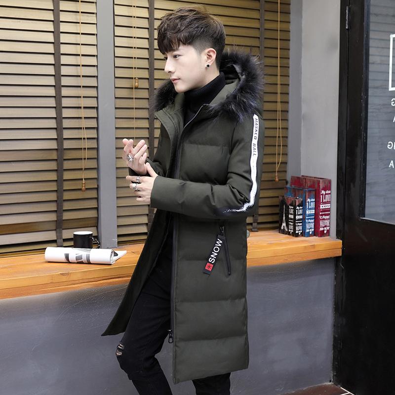 新款中长款羽绒服男士韩版青年潮流修身连帽毛领棉衣冬季棉袄外套