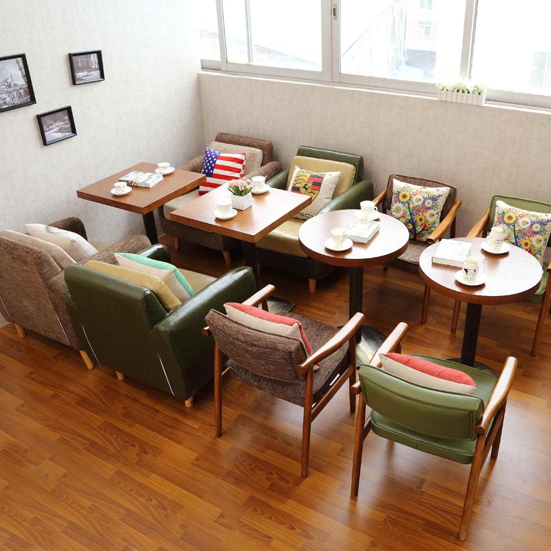 复古咖啡厅桌椅沙发组合甜品奶茶店沙发西餐厅卡座茶