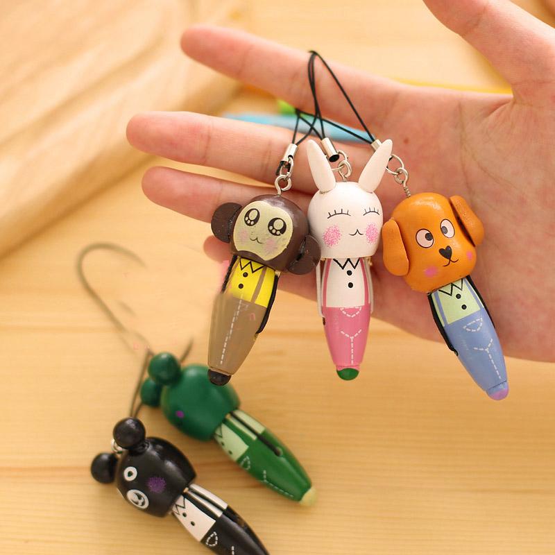 韩国创意文具批发 木质动物手机链圆珠笔批发可爱卡通小学生礼品