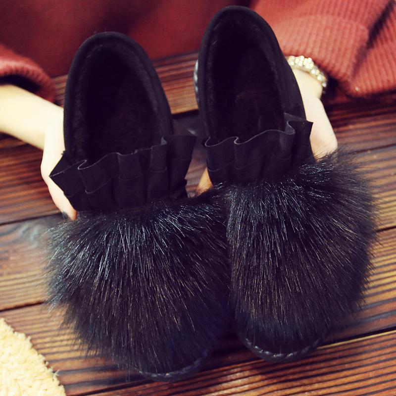 冬季豆豆鞋女棉鞋老北京布鞋女鞋加绒保暖雪地靴平底一脚蹬毛毛鞋