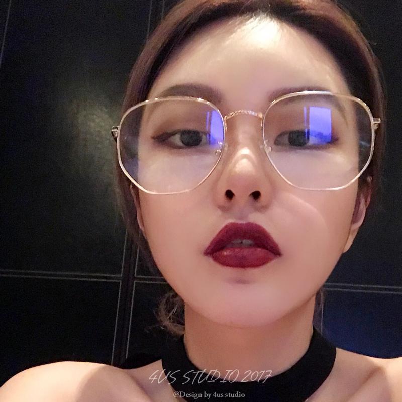 周扬青网红同款方形金属框素颜眼镜女原宿平光镜眼镜框架近视镜潮