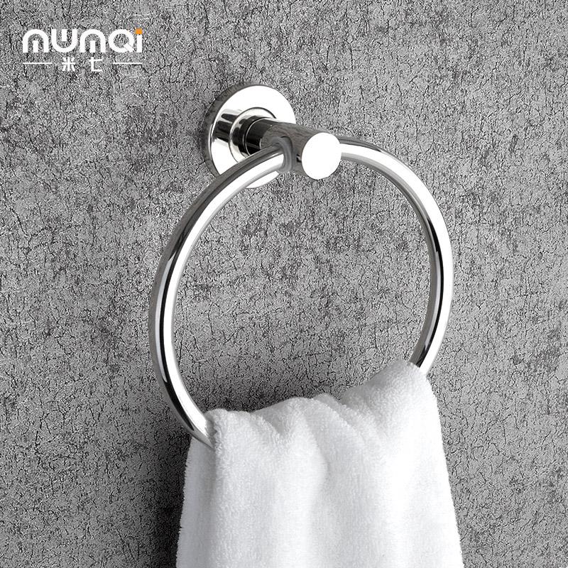 免打孔毛巾挂环304不锈钢 浴室卫生间手巾架 毛巾圈圆形 壁挂欧式