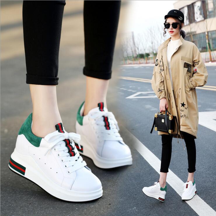2017春季新款拼色厚底松糕鞋女韩版内增高小白鞋平底时尚休闲女鞋