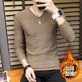 冬季男长袖t恤韩版修身男士加绒针织打底衫潮男v领毛衣男装衣服
