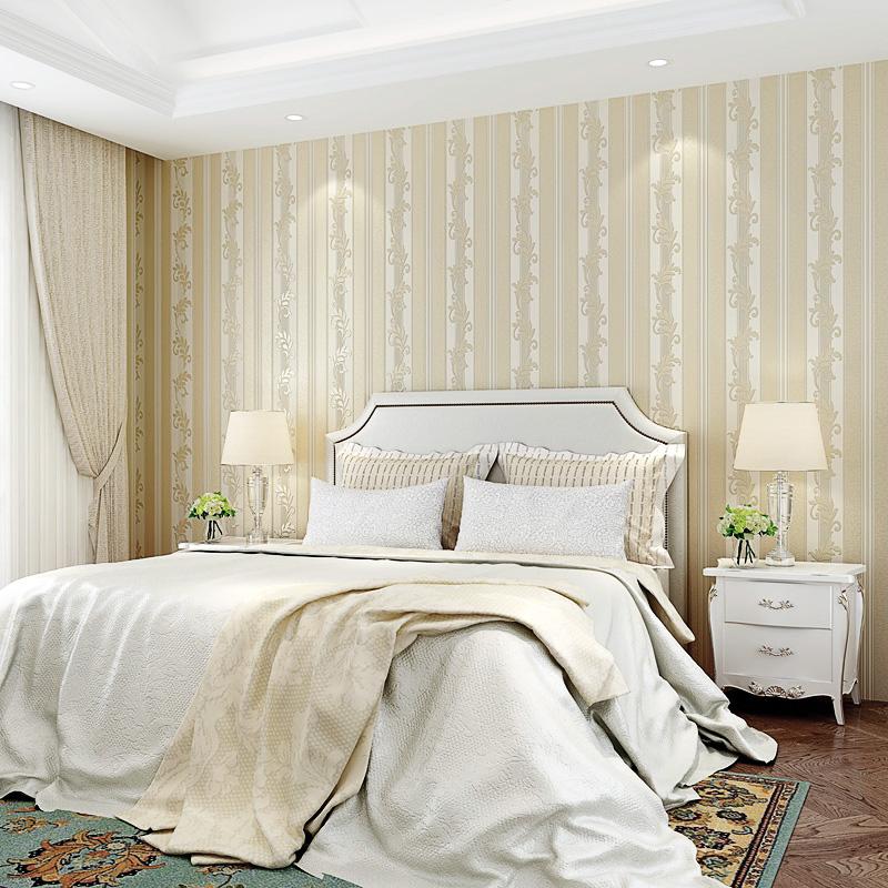 无纺欧式竖条纹墙纸客厅贴的壁纸
