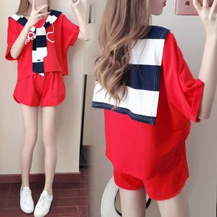 夏天女装两件套韩版甜美2017新款休闲套装运动服短款短衣短裤00后