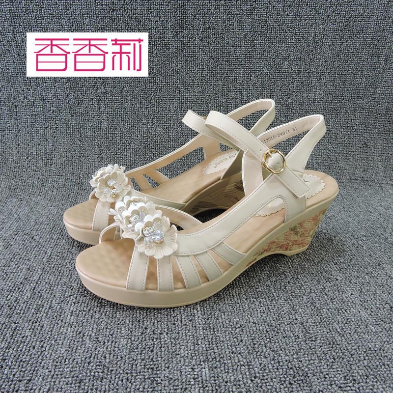 香香莉正品2017夏季新款女鞋防水台一字扣带坡跟高跟女凉鞋L12015