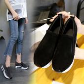 显瘦休闲鞋 百搭内增高女鞋 厚底坡跟一脚蹬懒人鞋 流行韩版 春秋新款